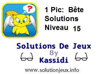 1 pic bête niveau 15 solutions
