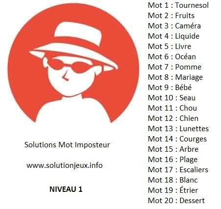 Solution-Mot-Imposteur - Niveau 1