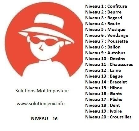 Solution-Mot-Imposteur - Niveau 16
