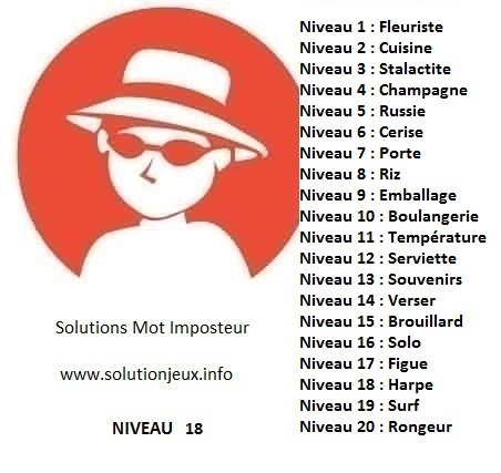 Solution-Mot-Imposteur - Niveau 18