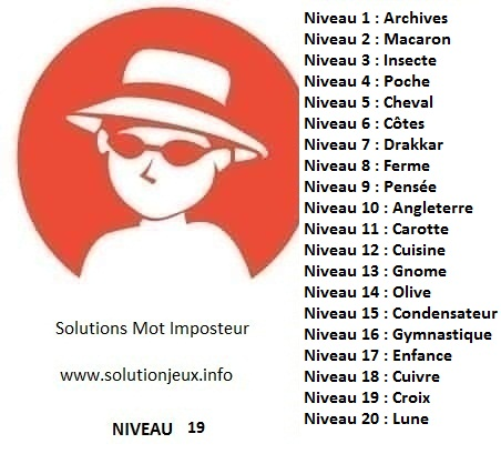 Solution-Mot-Imposteur - Niveau 19