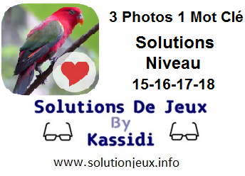 Solutions 3 photos 1 mot clé 15-16-17-18