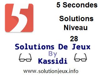 Solutions 5 secondes Niveau 28