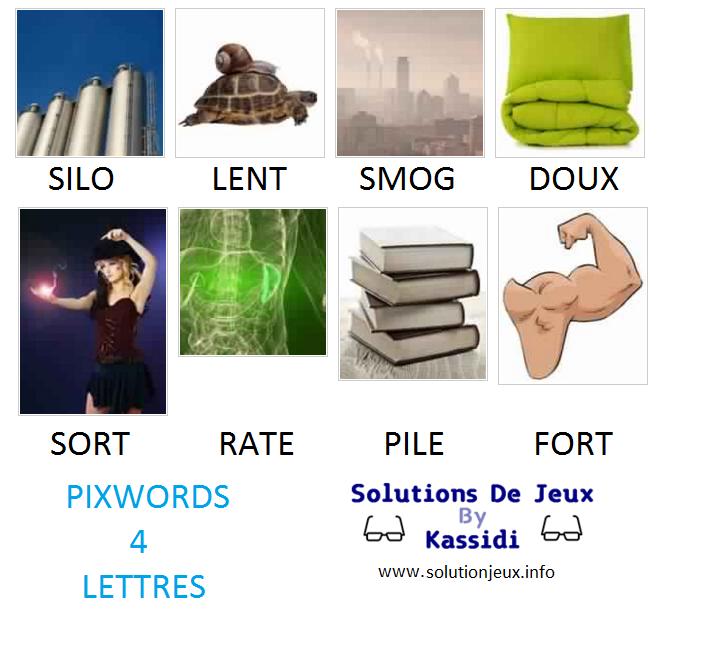 Pixwords solutions mots à 4 lettres suite 8 Kassidi