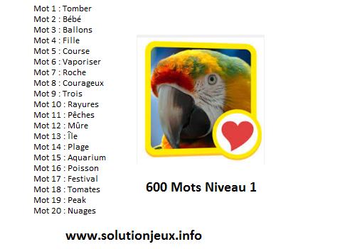 solution 600 mots niveau 1