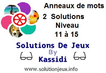 Anneaux de Mots 2 Niveau 11,12,13,14,15 Solutions