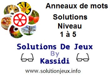 Anneaux de Mots Niveau 1,2,3,4,5 Solutions