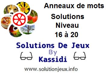 Anneaux de Mots Niveau 16,17,18,19,20 Solutions