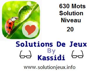 Solution 630 Mots Niveau 20