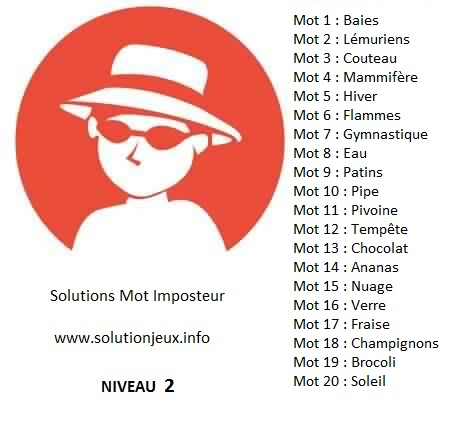Solution-Mot-Imposteur - Niveau 2