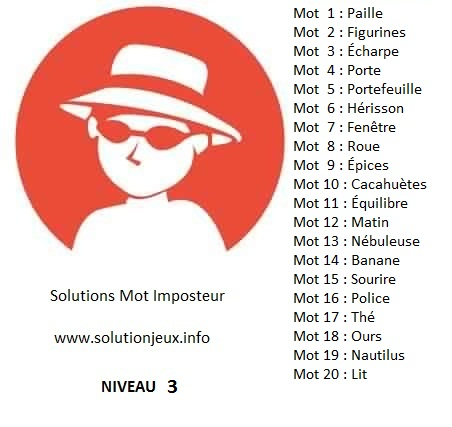 Solution-Mot-Imposteur - Niveau 3
