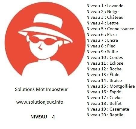 Solution-Mot-Imposteur - Niveau 4
