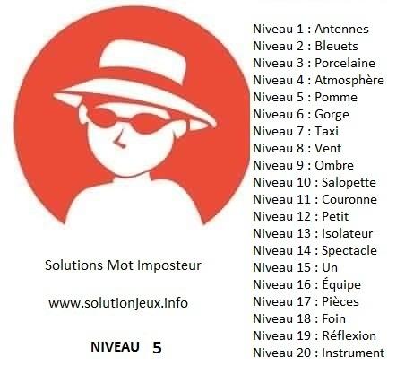 Solution-Mot-Imposteur - Niveau 5