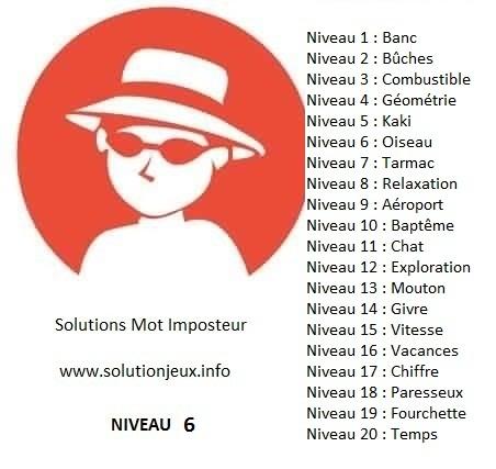 Solution-Mot-Imposteur - Niveau 6